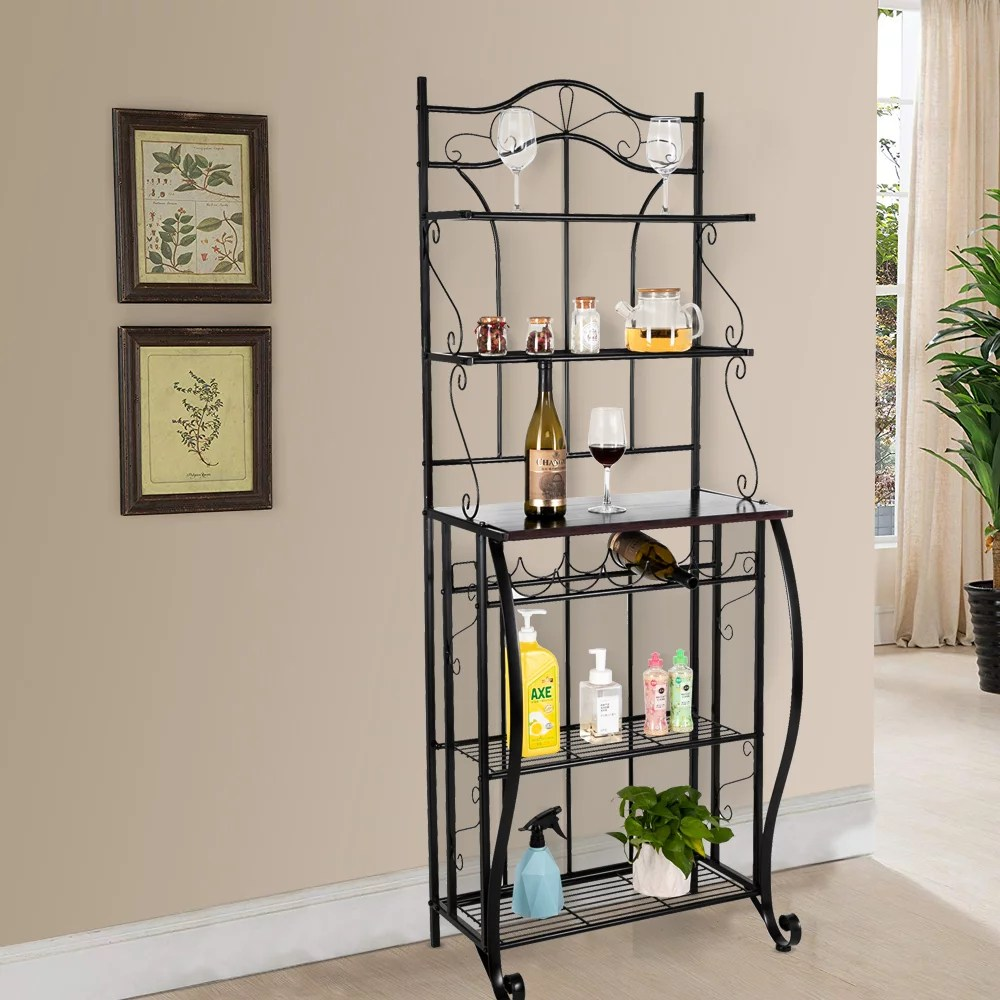 lowestbest 5 tier bakers racks for kitchen kitchen corner bakers rack kitchen food storage shelf kitchen shelving and storage microwave stand for