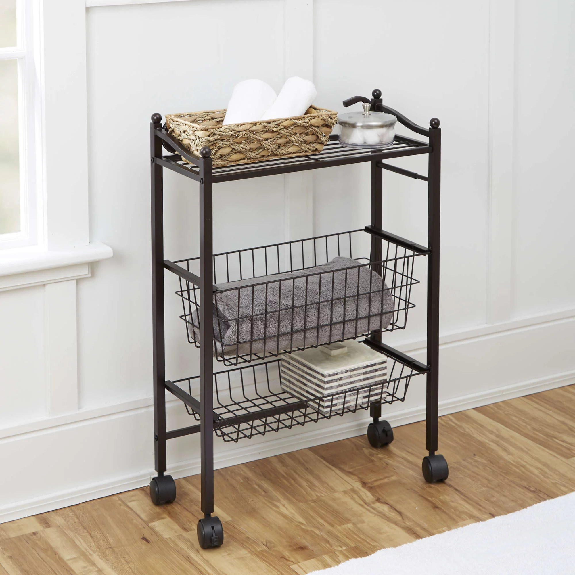 Chapter Bathroom Storage Cart with Top Shelf and Two
