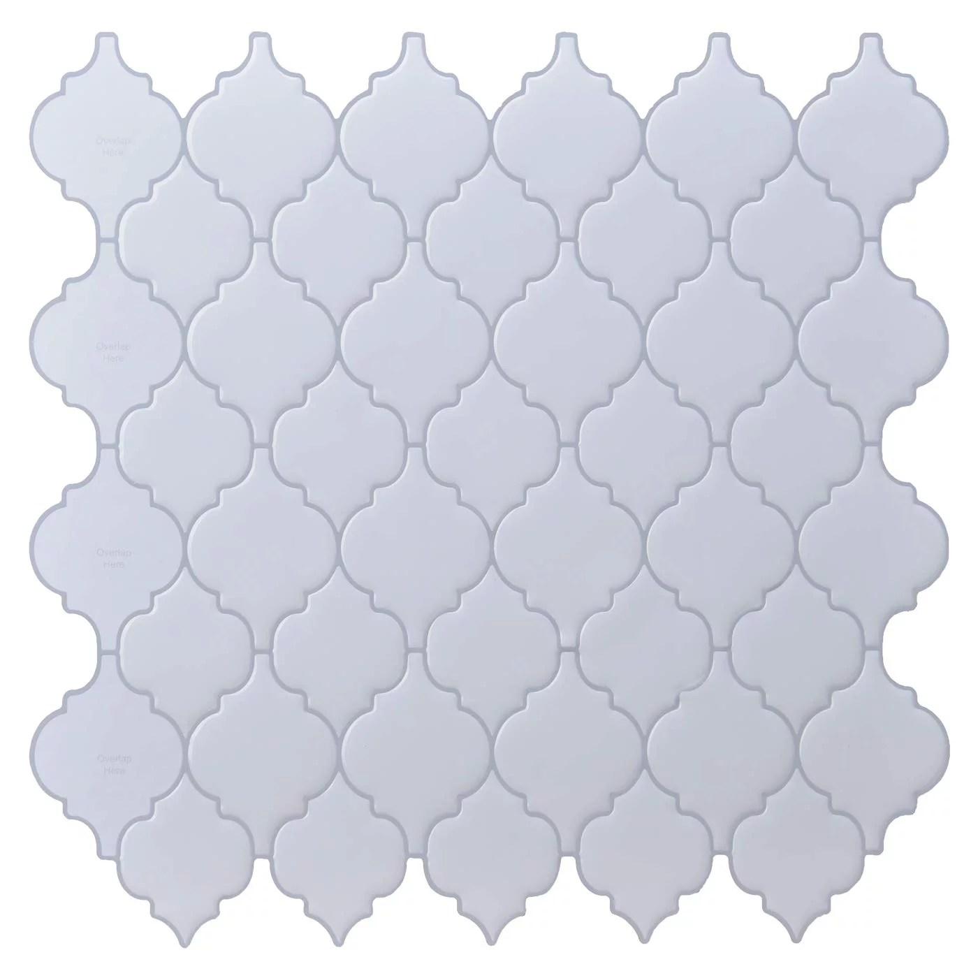 longking peel and stick backsplash tile light gray arabesque wall tile 12 in x 12 in 10 pack