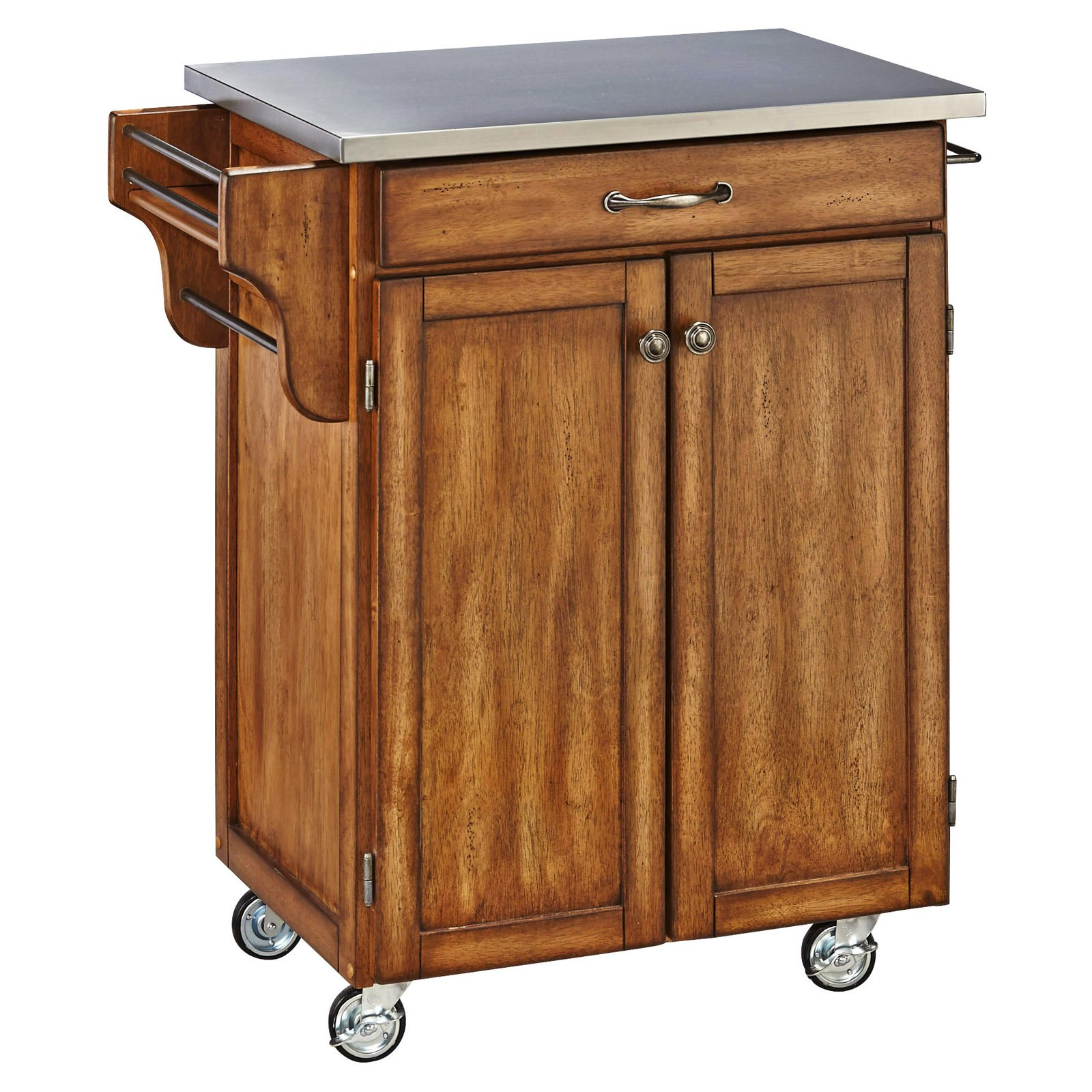 cherry kitchen cart ikea installation cost home styles with stainless steel top walmart com