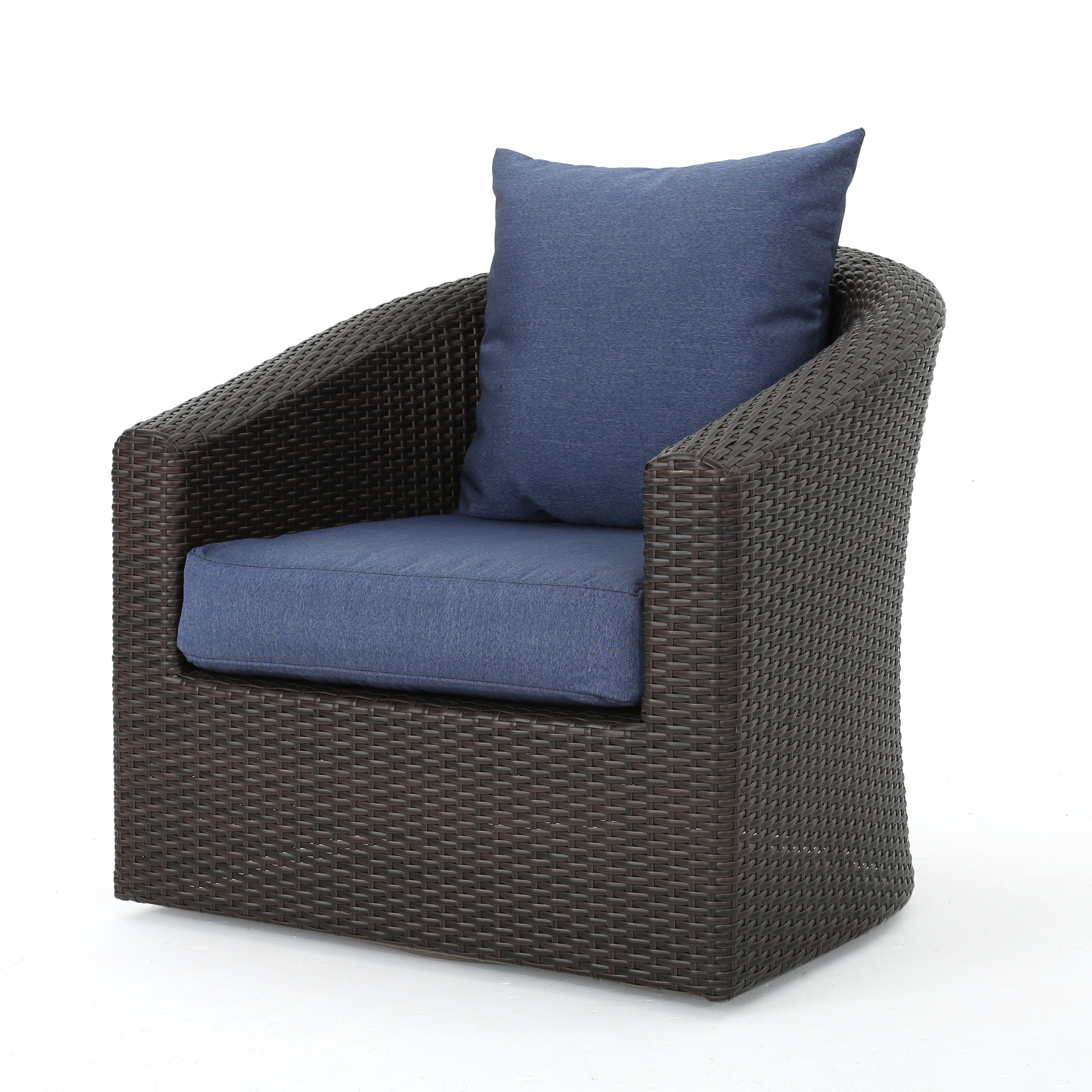 swivel club chair thomas potty dillard outdoor aluminum framed wicker with water resistant cushions multibrown and navy