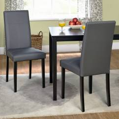 Modern Grey Dining Chairs Uk Ottoman And Chair Faux Leather Parson Set Of 2 Walmart Com