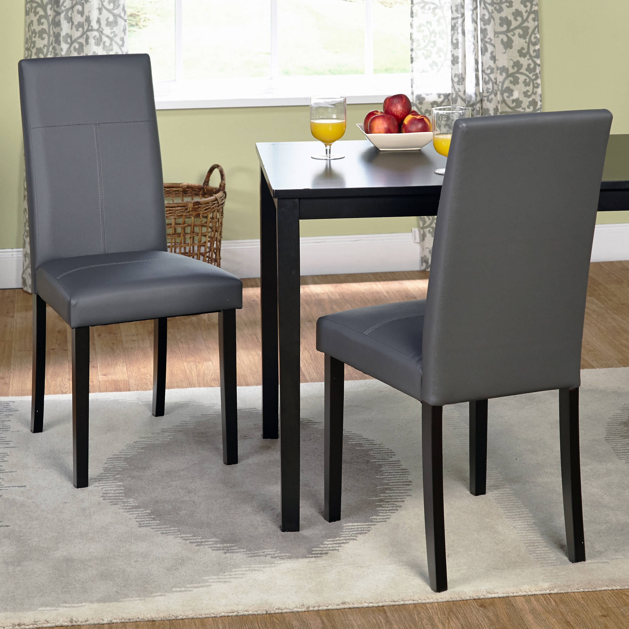 leather dining room chairs parisian table and faux parson chair set of 2 walmart com