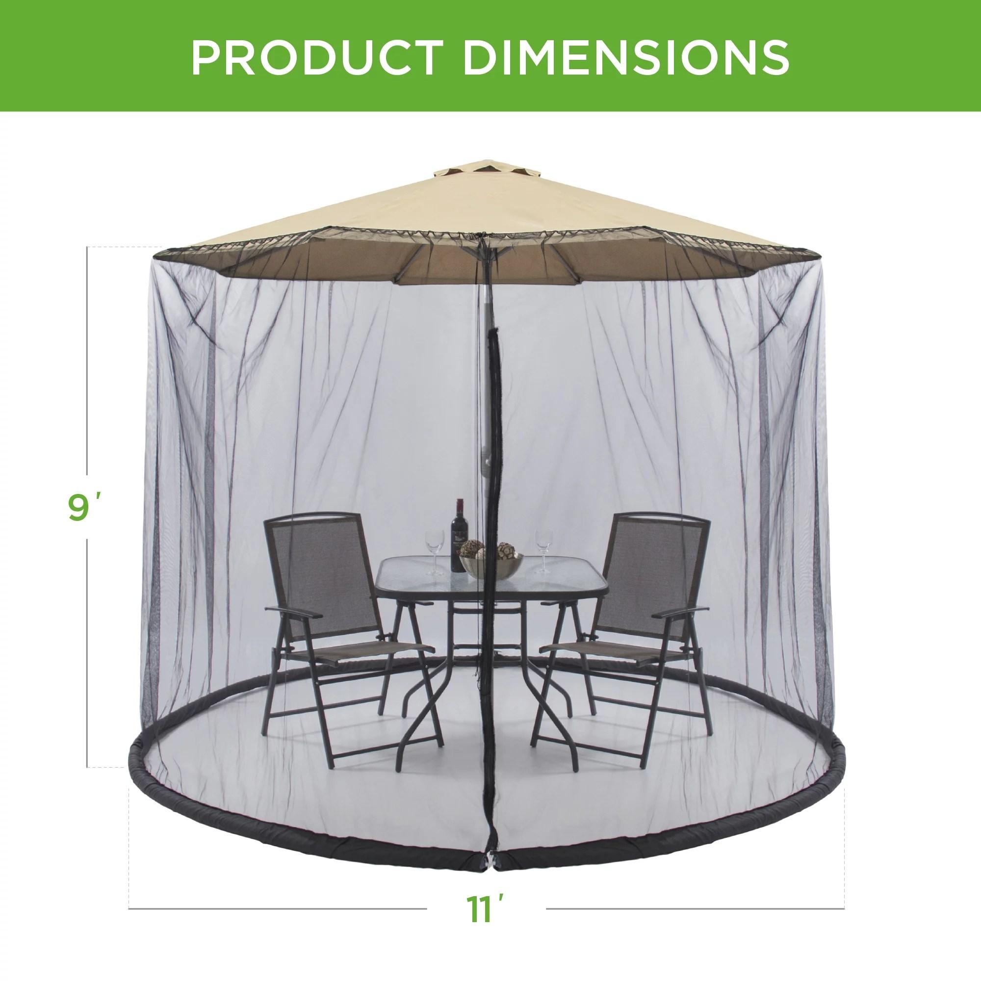 best choice products 9ft patio umbrella bug screen w zipper door polyester netting black