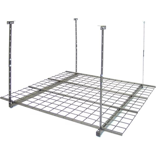 4 ft x 8 ft garage overhead storage rack 24 in 45 in h white by eagle industrial group