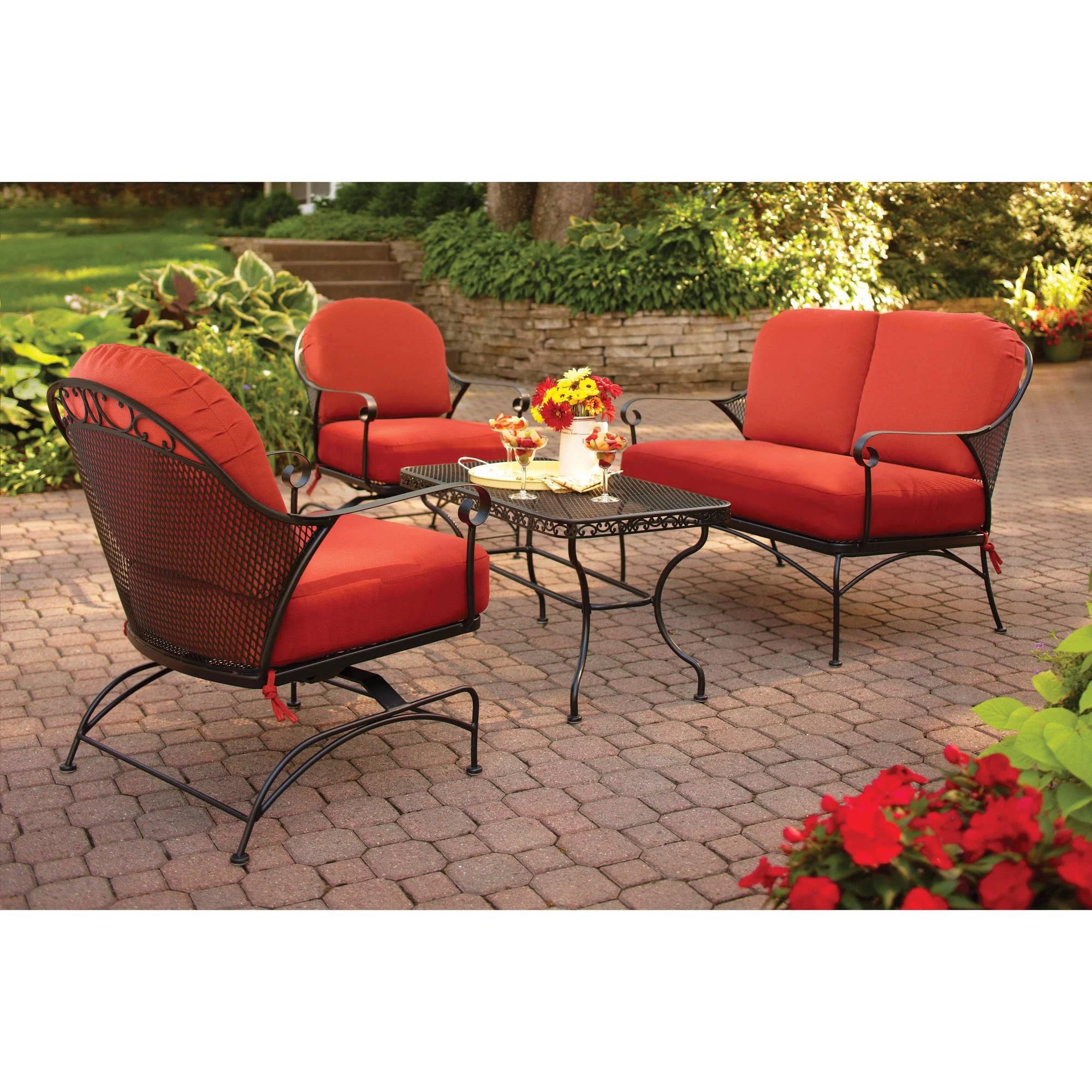 better homes gardens clayton court 4 piece patio furniture conversatio set metal walmart com