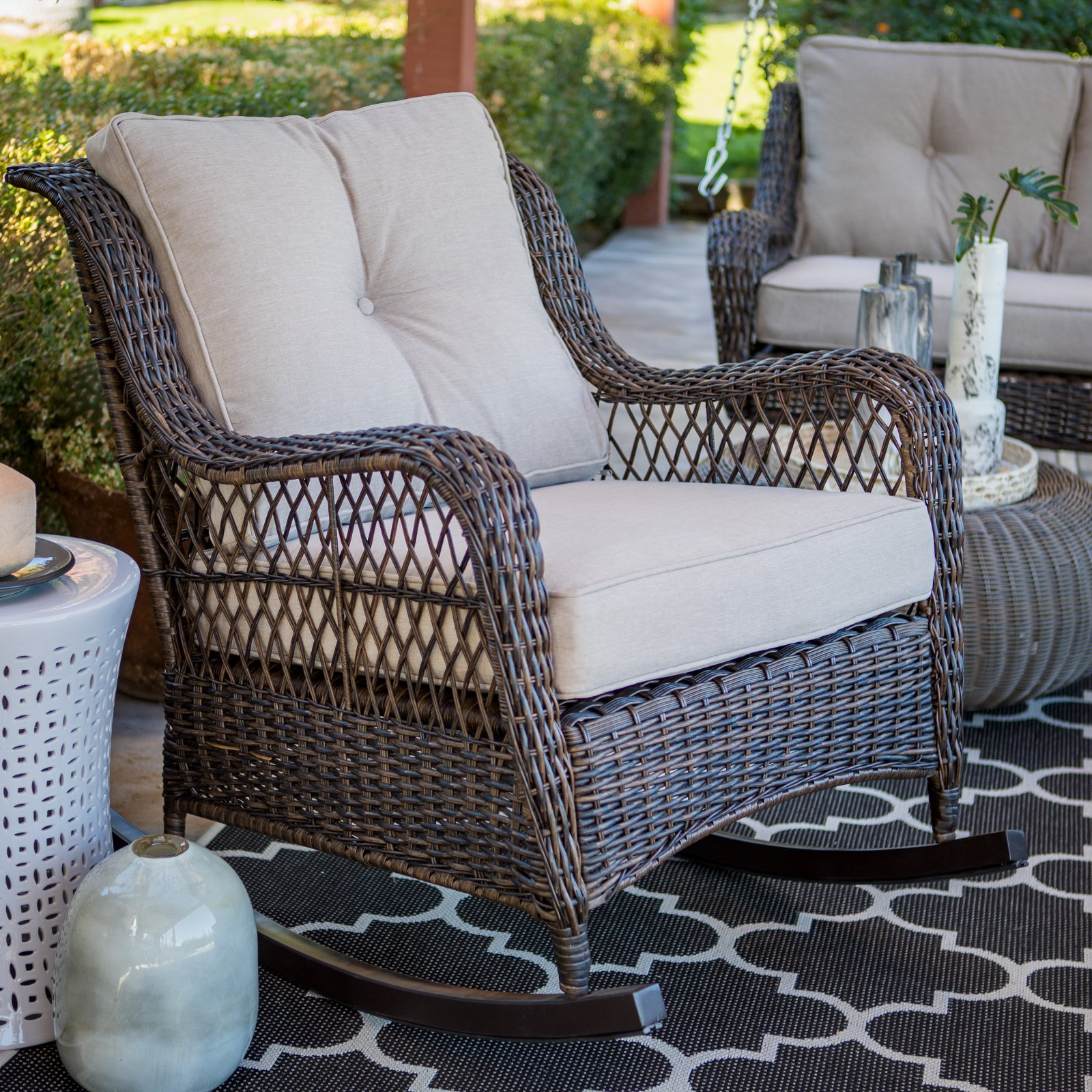Belham Living Montauk Resin Wicker Outdoor Rocking Chair