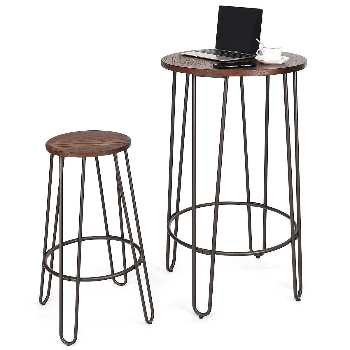 Bar Table With Chairs Gymax 3pc Pub Set Bar Wood Round Table Height Counter Chairs Bistro Stool Furniture