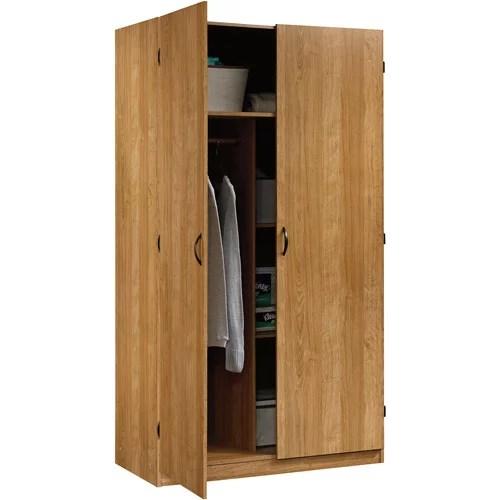 beginnings wardrobe and storage cabinet in highland oak by sauder