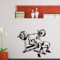 Gym Decor Benching Weightlifting Vinyl Wall Art Decal ...