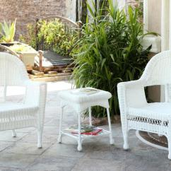 White Resin Wicker Chairs Black Folding Chair Covers For Sale 3 Piece Patio And End Table Furniture Set Walmart Com