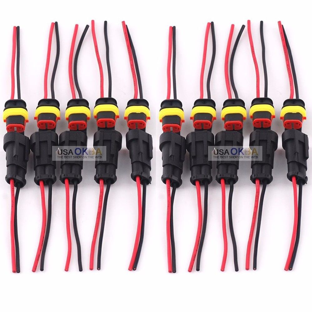 medium resolution of 5 kit 2 pin 2 way car waterproof electrical connector plug wire awg marine walmart com