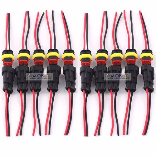 small resolution of 5 kit 2 pin 2 way car waterproof electrical connector plug wire awg marine walmart com