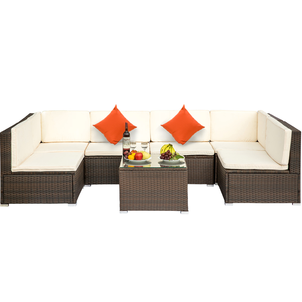 clearance outdoor patio conversation furniture sets 7 piece wicker patio conversation furniture set w 2 corner sofa tempered glass table 4 single