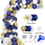 129 Pcs Navy Blue Balloons Garland Arch Kit 12 10 5 Navy Royal Blue White Pearlescent Latex Balloons Gold Silver Confetti Metallic Balloons For Birthday Baby Shower Wedding Party Decorations Sup