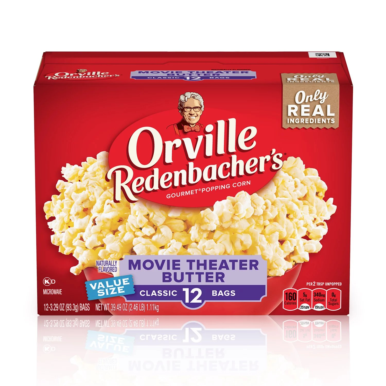 orville redenbacher s movie theater butter microwave popcorn 3 29 oz 12 ct walmart com