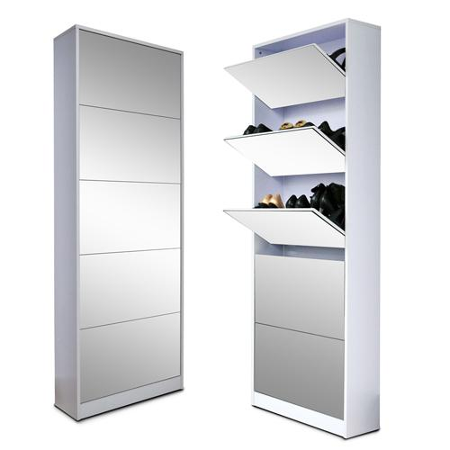 organizedlife wood shoe cabinet storage cabinet shoe rack with drawer full mirror white