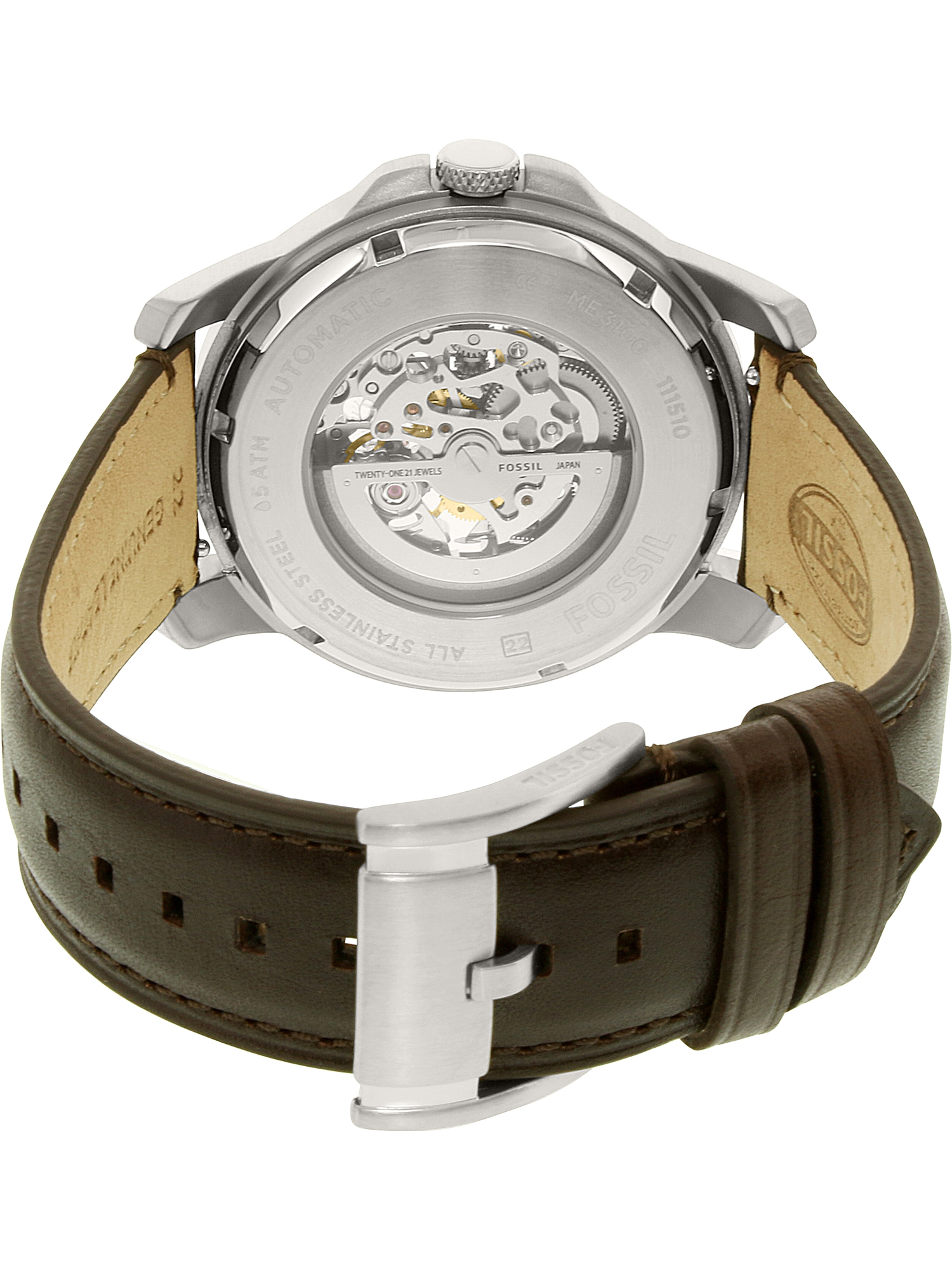 Fossil Men's Grant ME3100 Silver Leather Japanese Automatic Dress Watch   Walmart Canada