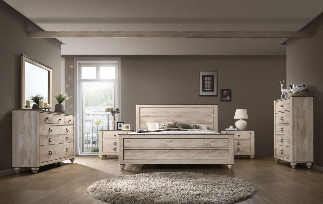 Roundhill Imerland Contemporary White Wash Finish Bedroom ...
