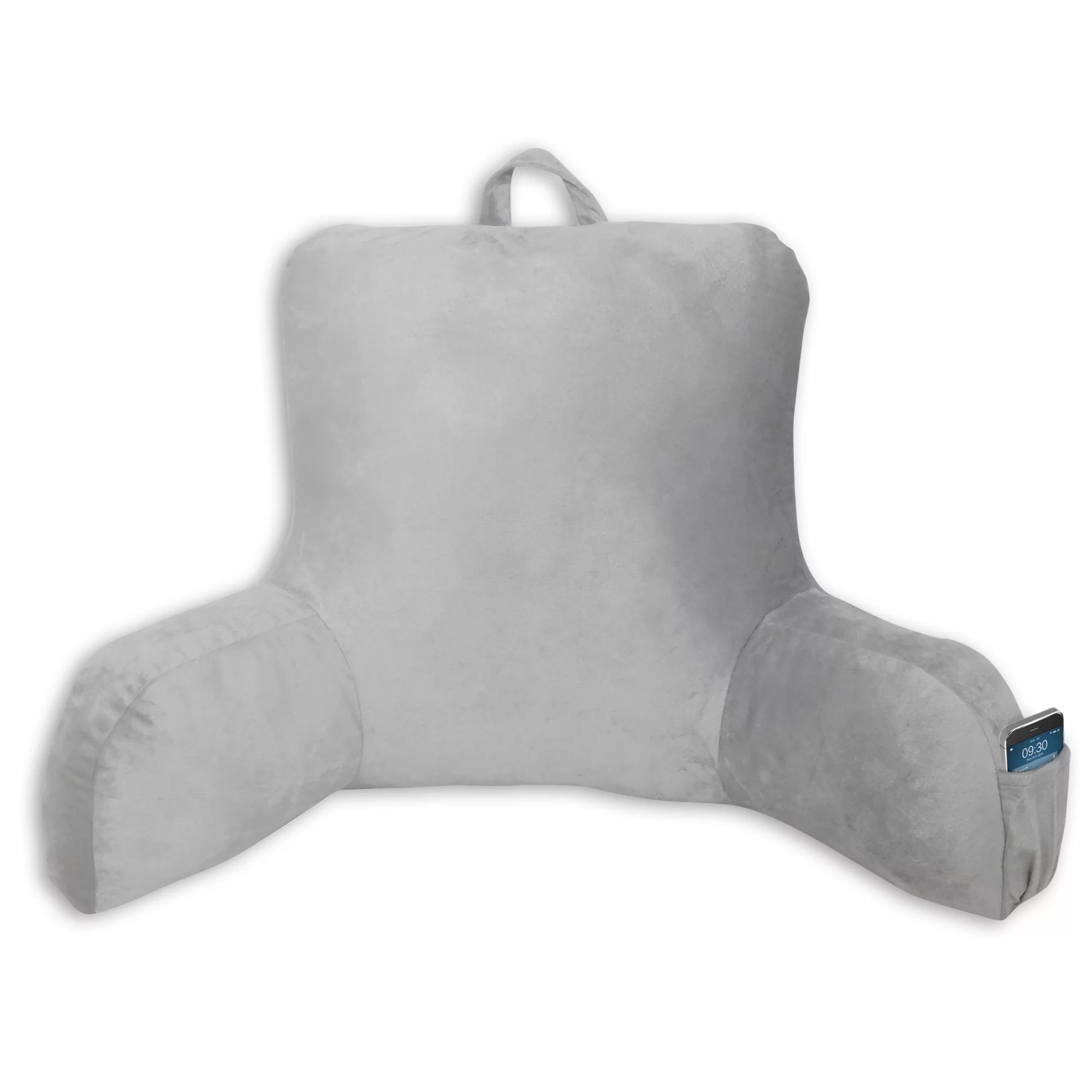mainstays bed rest lounger pillow faux mink fabric with polyester filling 27 x 14 x 18 solid color soft silver with pocket