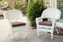 Set Of 4 White Resin Wicker Outdoor Patio Garden Chairs