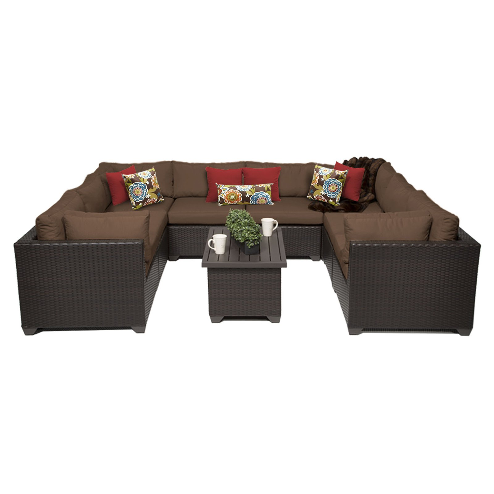 tk classics belle wicker 9 piece patio conversation set with 2 sets of cushion covers