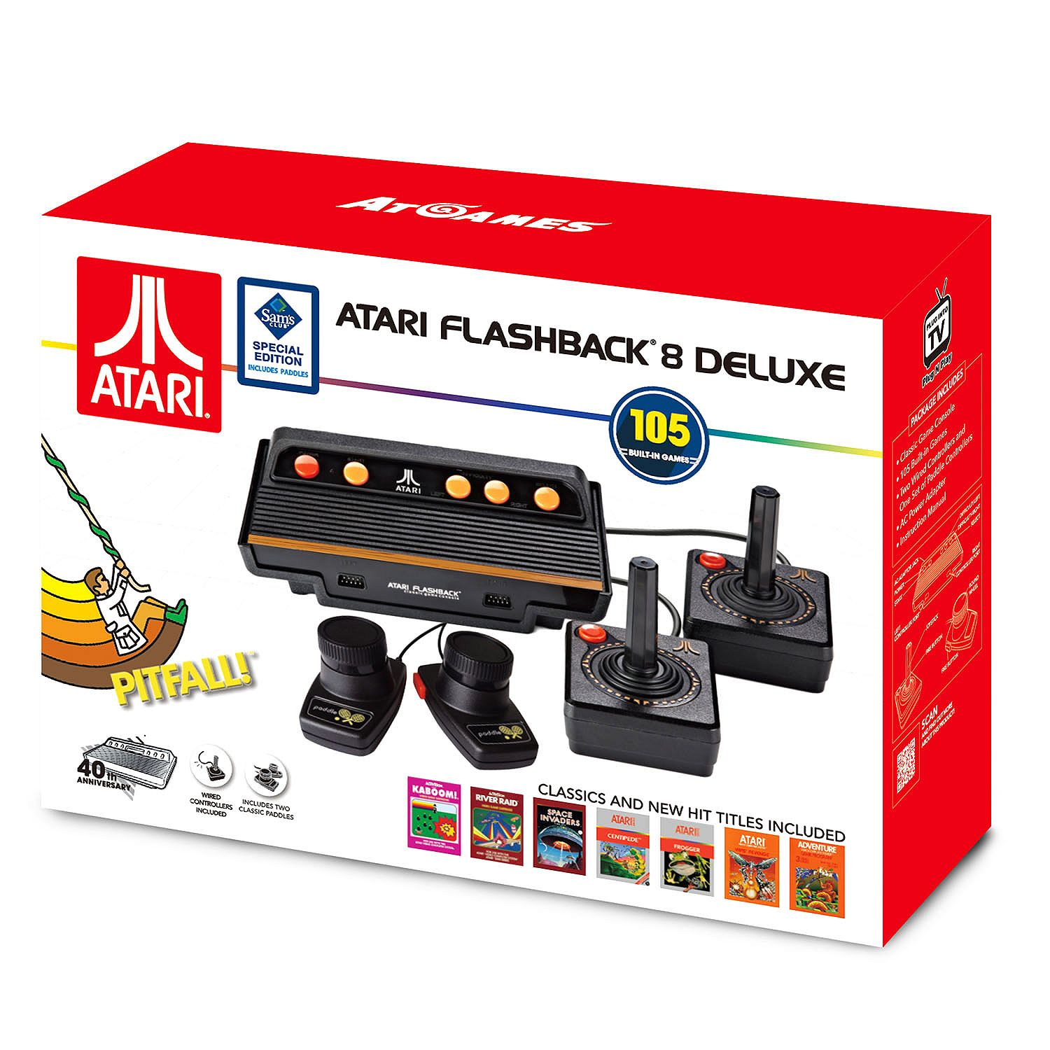 hight resolution of atari flashback 8 deluxe with 105 games 2 wired controllers and 2 wired paddles walmart com