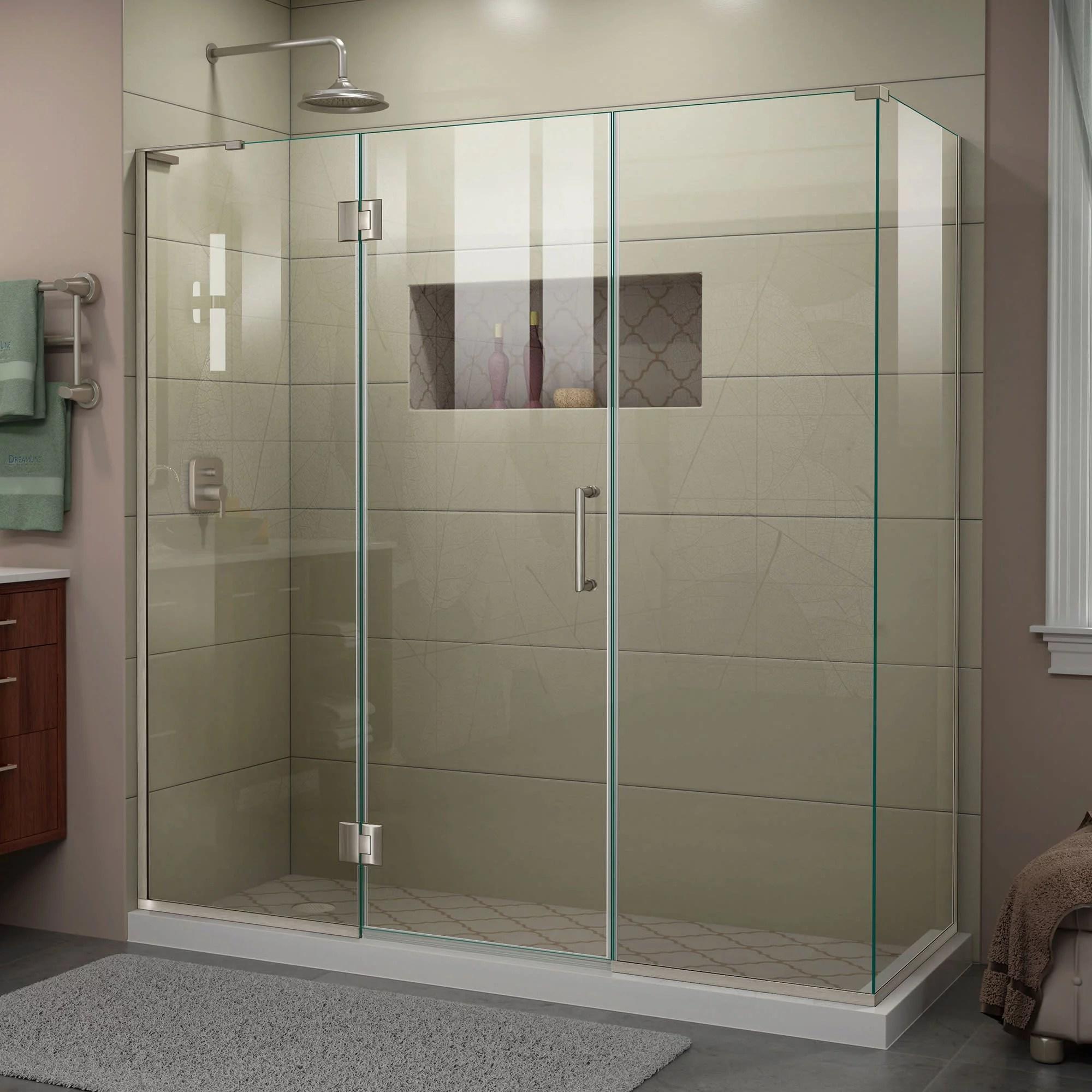 Dreamline Unidoor X 70 In W X 34 3 8 In D X 72 In H Frameless Hinged Shower Enclosure In Brushed Nickel