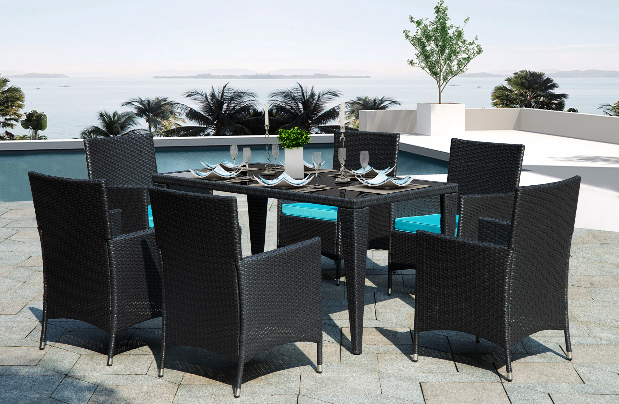 black wicker patio furniture set 6 rattan wicker chairs with glass dining table 7 piece outdoor patio dining set with blue removable cushions for