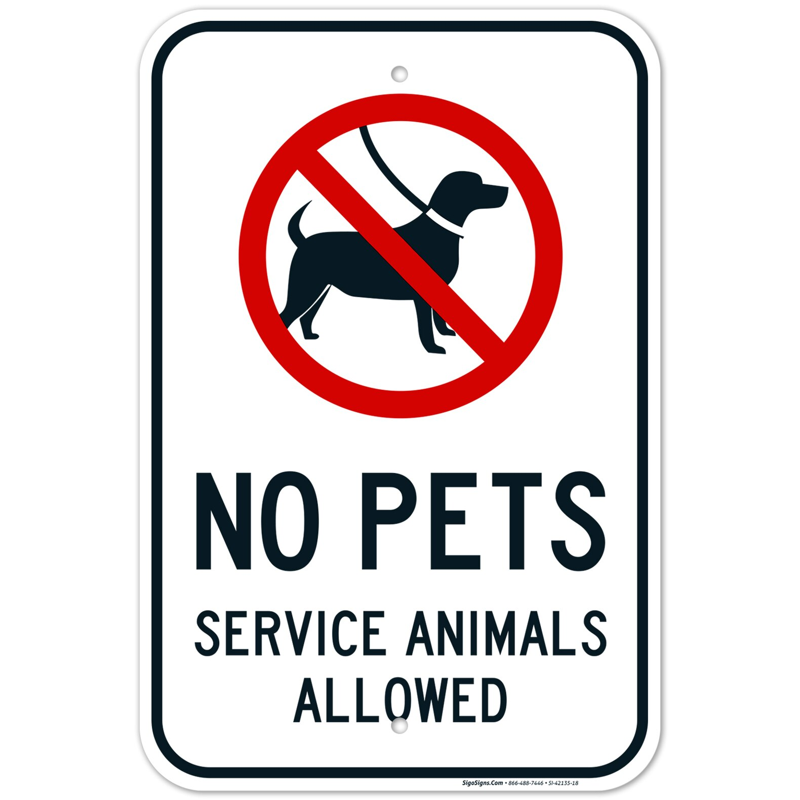 No Pets Allowed Sign Service Animals Allowed Sign