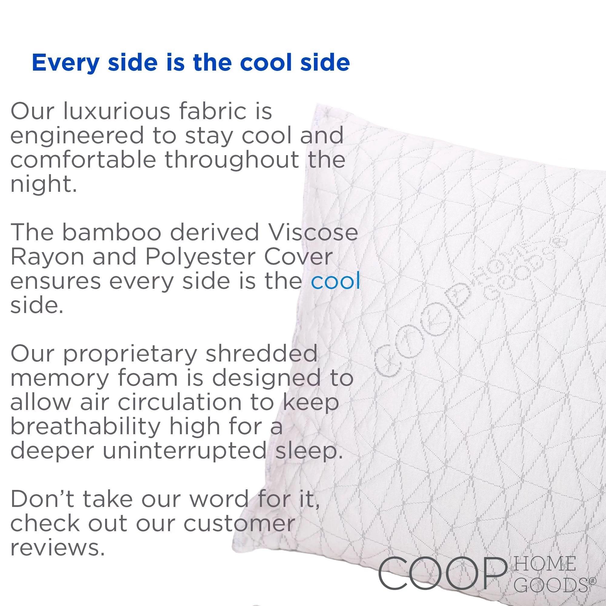 coop home goods premium adjustable loft shredded memory foam pillow king