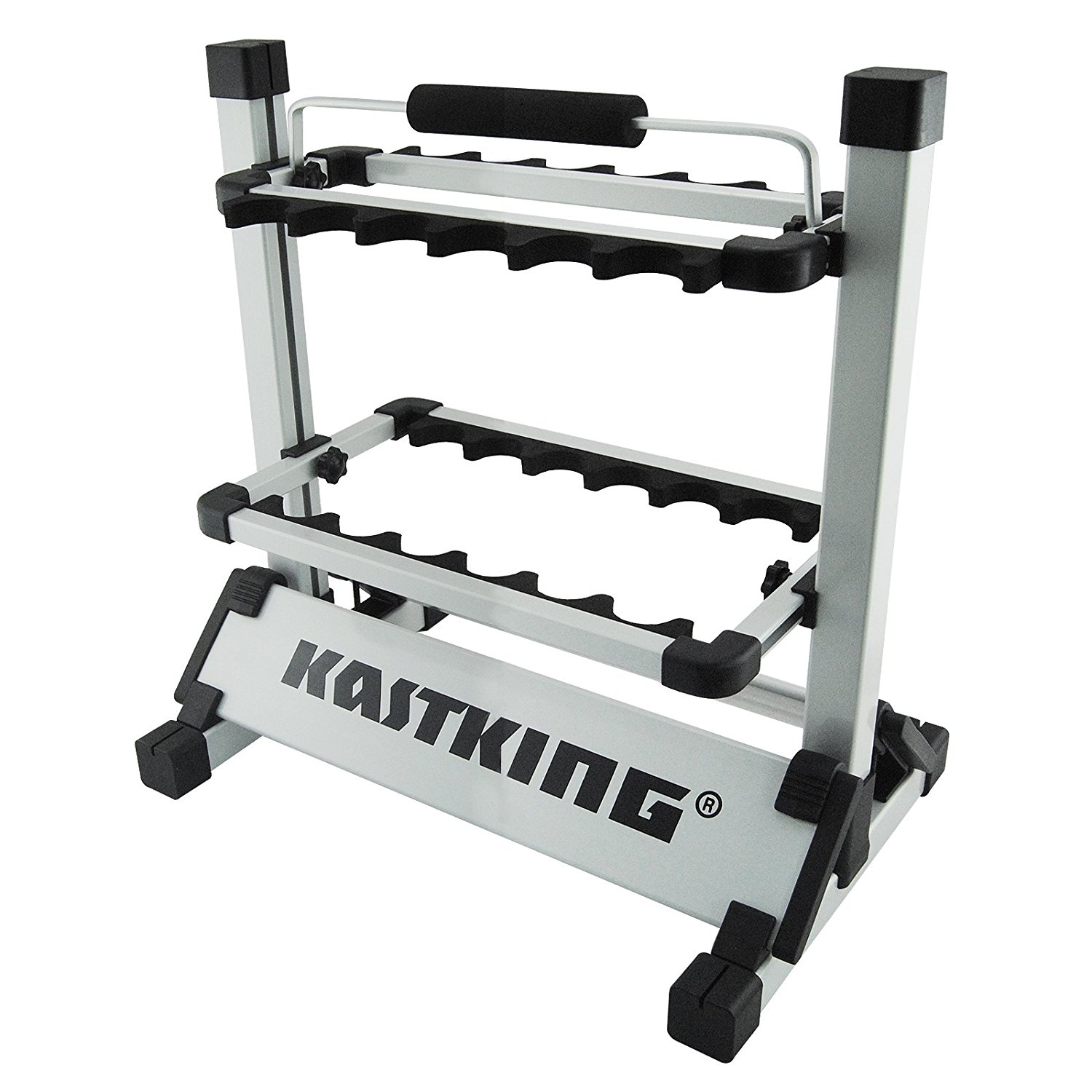 folding chair fishing pole holder wwe toys ladders chairs and tables kastking rack em up rod portable aluminum holds 13 rods great for storing poles on boat truck rv at home or in