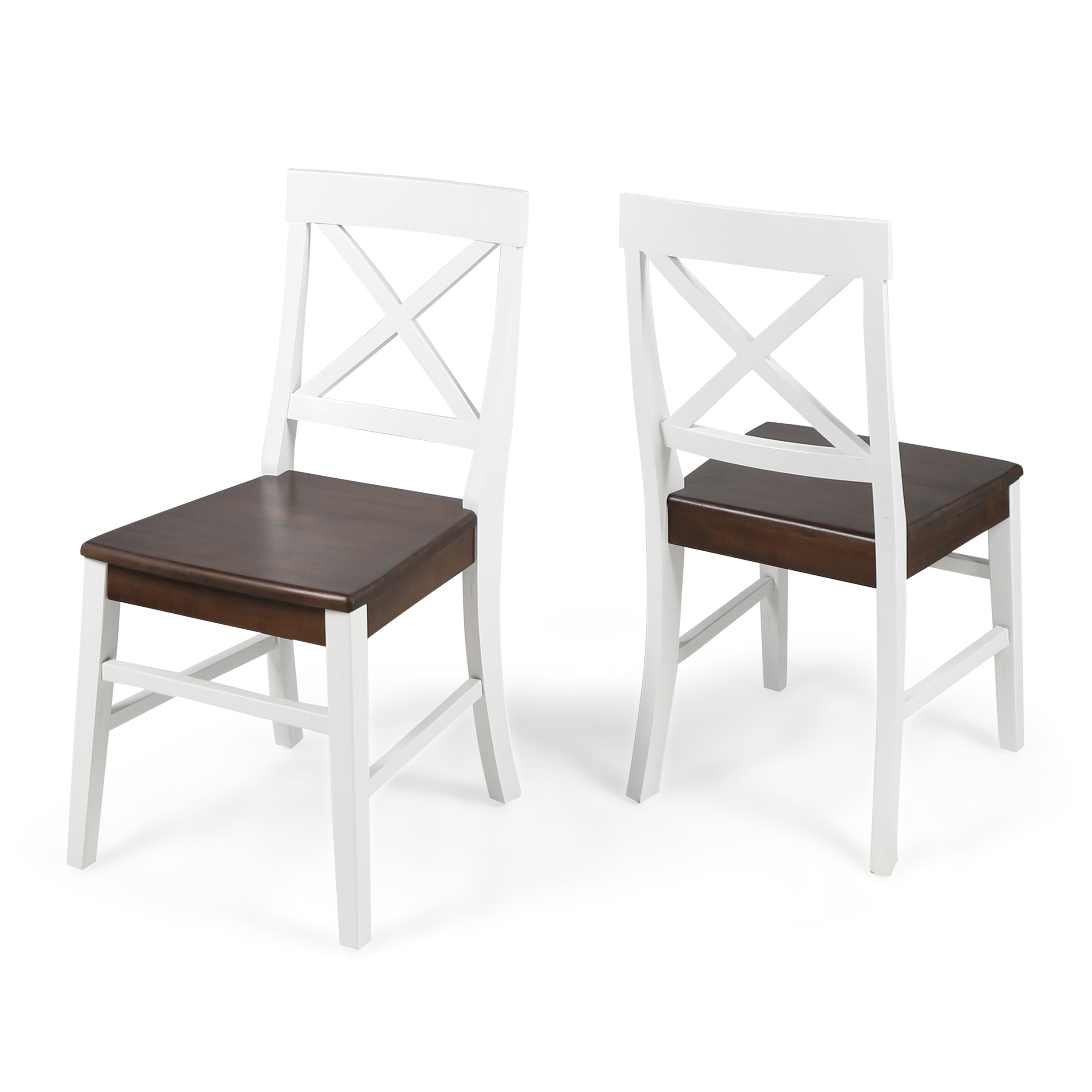 White Wooden Dining Chairs Truda Farmhouse Acacia Wood Dining Chairs With Frame Walnut And White Finish