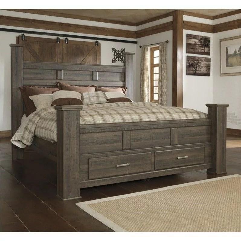 signature design by ashley furniture juararo poster bed storage bed in dark brown walmart com