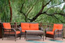 4-piece espresso resin wicker outdoor