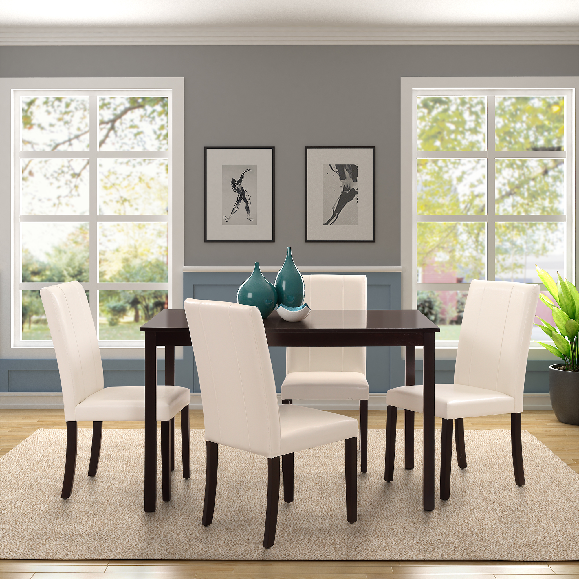 Dining Room Upholstered Chairs Harper Bright Designs Dining Table And Upholstered Chairs 5 Piece Dining Set Multiple Colors