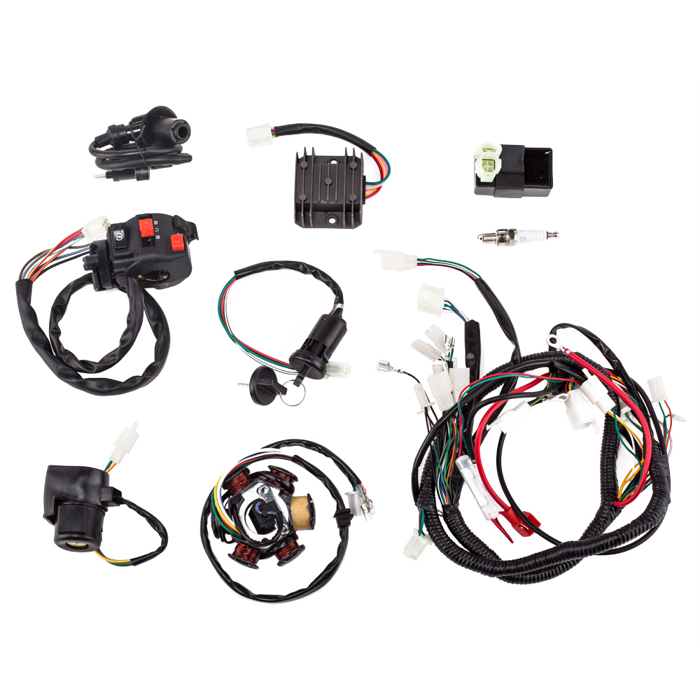 medium resolution of complete electrics wiring harness with wire loom magneto stator for gy6 125cc 150cc atv quad