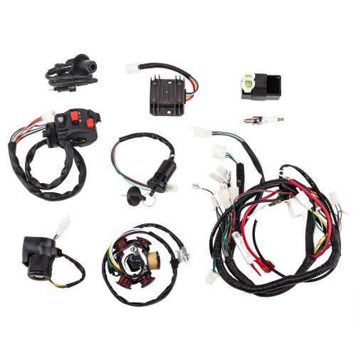 small resolution of complete electrics wiring harness with wire loom magneto stator for gy6 125cc 150cc atv quad