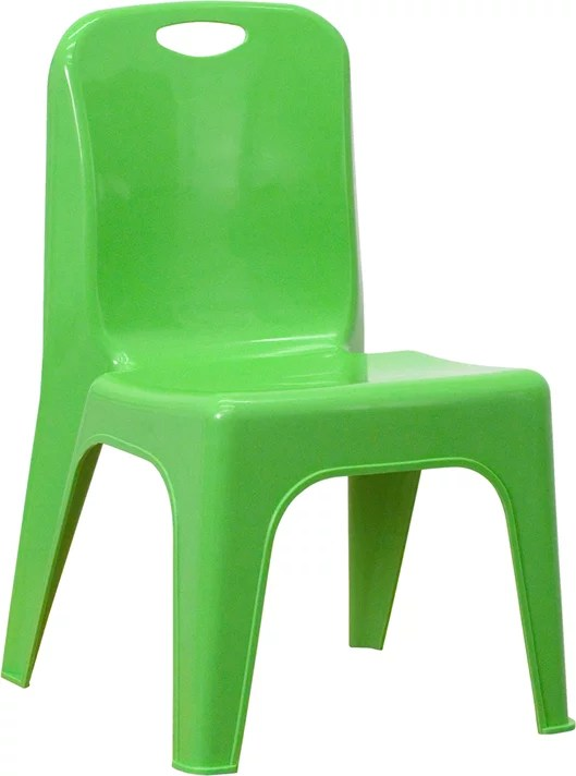 green plastic stackable school chair with 11 seat height