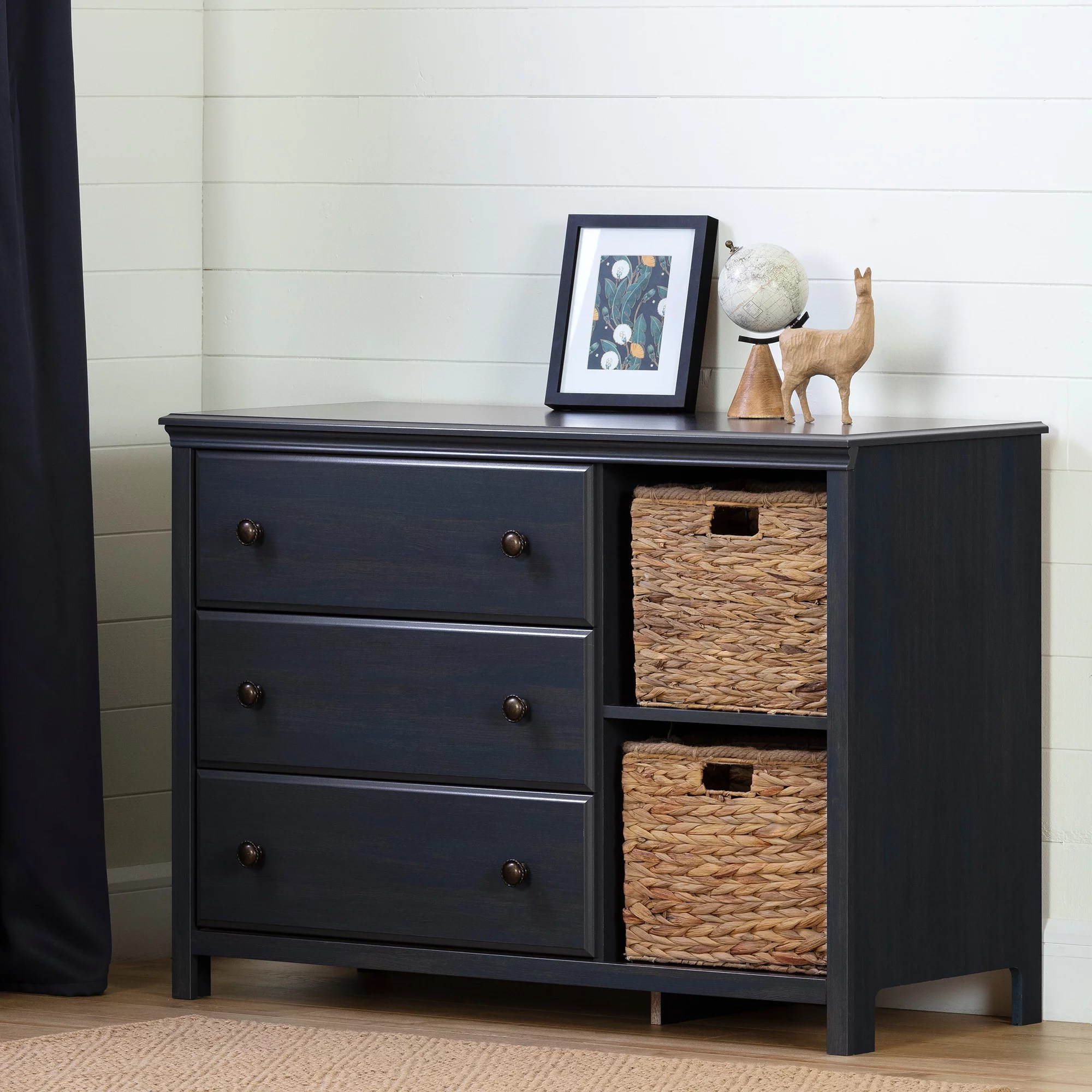 south shore cotton candy 3 drawer dresser with baskets blueberry