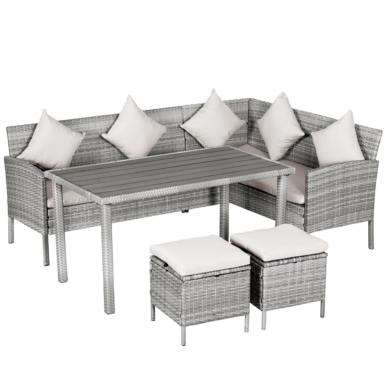 outsunny 5 piece modern outdoor wicker patio furniture sets with pe rattan resistant to weather quality build