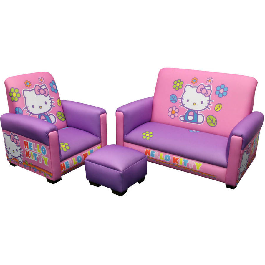 Hello Kitty Toddler Sofa Chair and Ottoman Set Novelty Chair Chair Wood Plastic