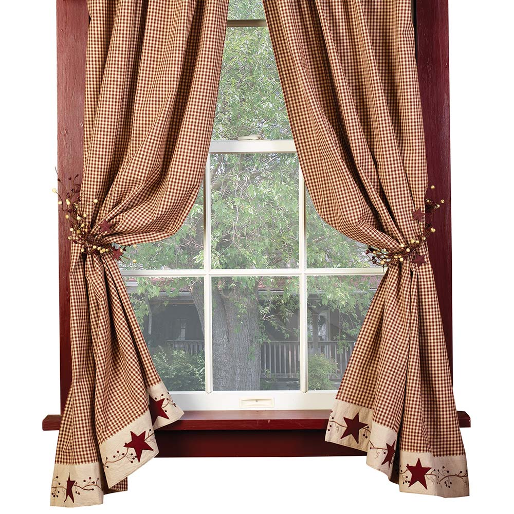 burgundy check stars and berries country curtain panels 63 84 lengths