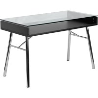 Flash Furniture Brettford Writing Desk with Tempered Glass ...