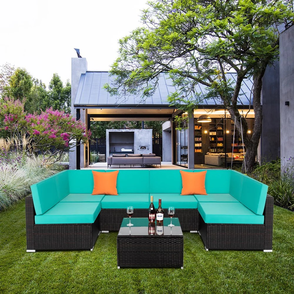 clearance patio outdoor furniture sets 7 pieces all weather rattan sectional sofa with tea table cushions pillow pe rattan wicker sofa couch