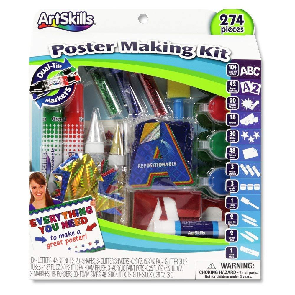 poster making kit arts and crafts supplies includes washable poster markers stencil letters poster letters glitter shakers glue scissors