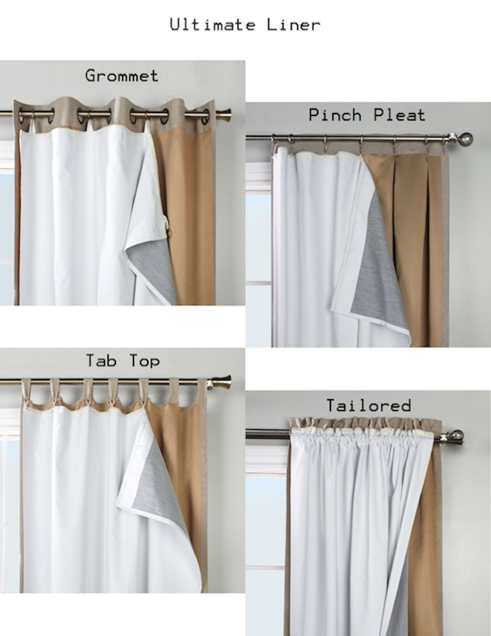 101 long ultimate blackout insulated curtain liner measures 45w x 101l by thermalogic walmart com