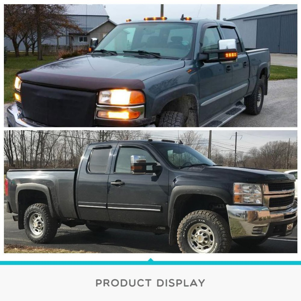 medium resolution of towing mirrors for 07 13 chevy silverado gmc sierra truck chrome cover power heated tow signal arrow clearance lamps side mirrors walmart com