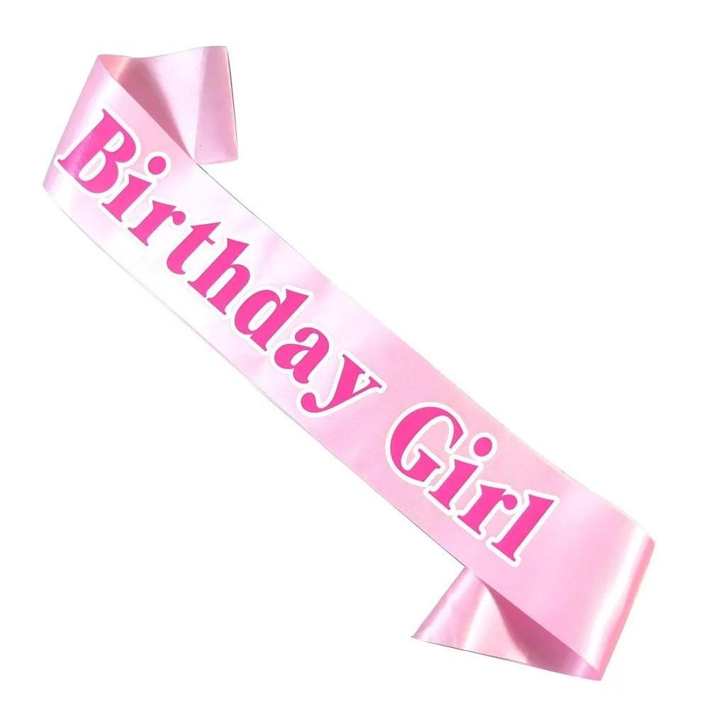 birthday girl satin sash