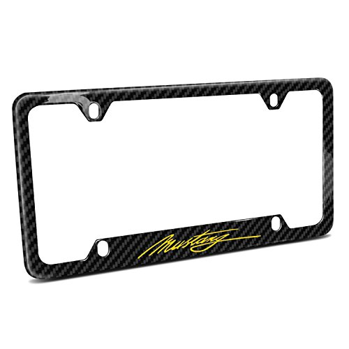 Ford Mustang Script in Yellow Black Real Carbon Fiber 50